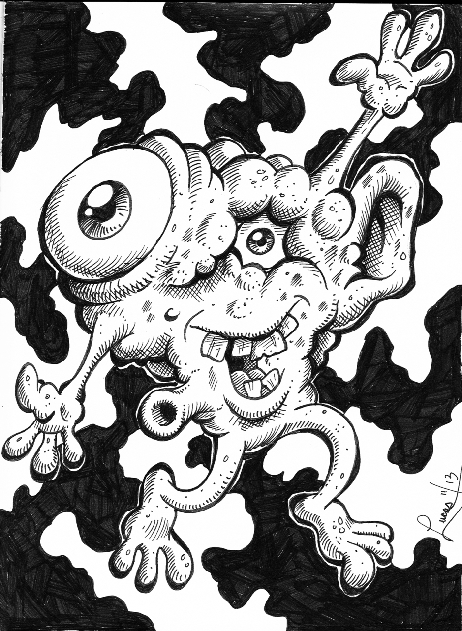 Leaping Creature BW